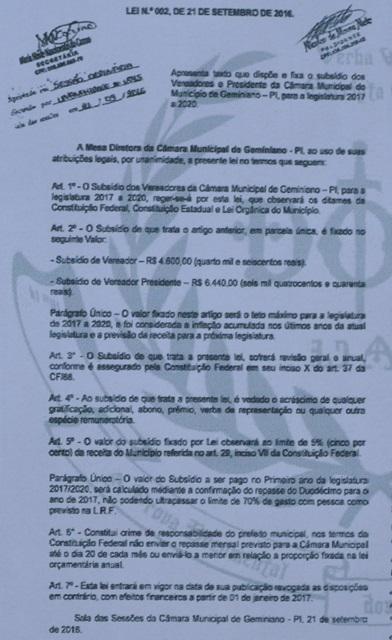 Vereadores da região de Picos aumentam os próprios salários