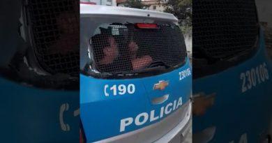 Fábio Assunção se irrita ao ser detido. Assista