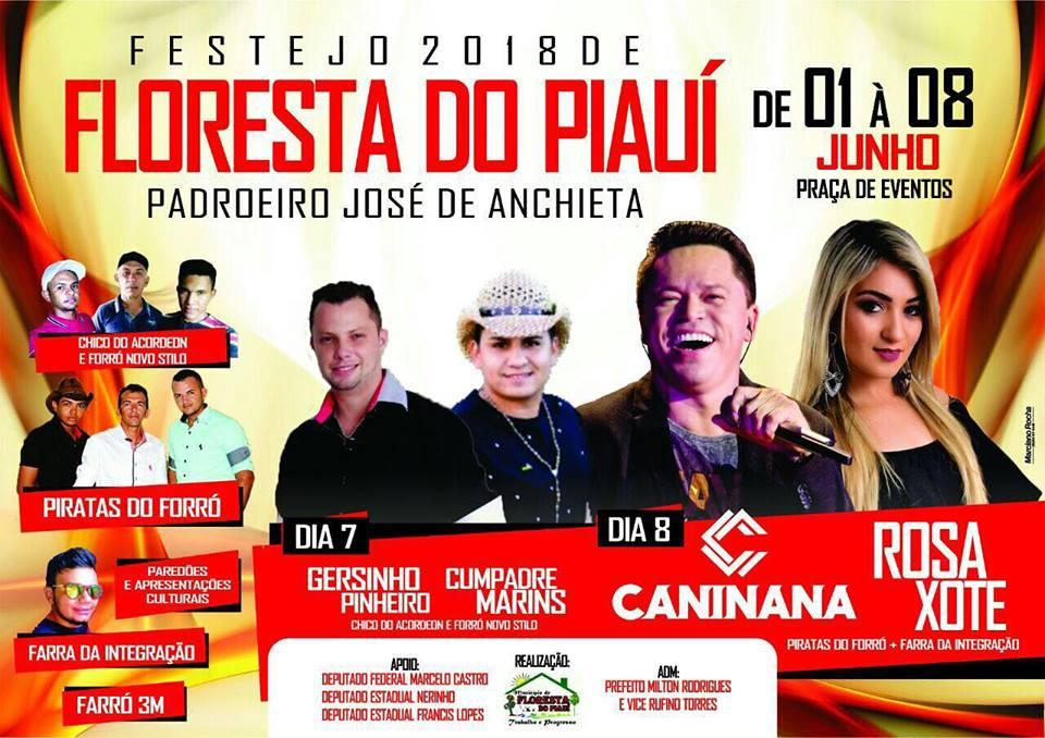 Festejos de Floresta terão shows de Caninana do Forró e Rosa Xote. Veja programação!