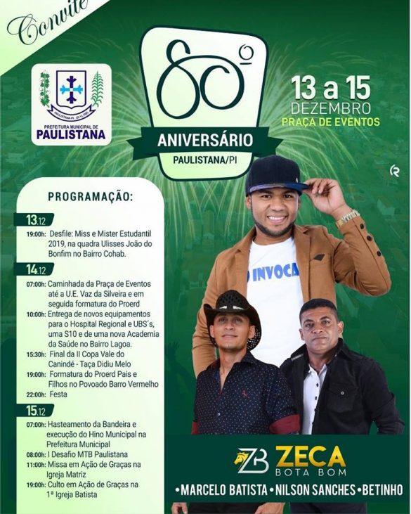 Prefeitura de Paulistana divulga programação completa do aniversário da cidade.